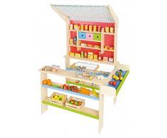 Kinder-Kaufladen aus Holz mit Markise (OHNE Zubehör!) / Maße: 72 x 68 x 105 cm, Thekenhöhe 52 cm / Hergestellt in Deutschland! / ab 3 Jahre