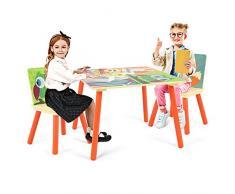 DREAMADE 3 TLG. Kindersitzgruppe, Kinderschreibtischstuhl Kindermöbel, Kinderstuhl & Tisch Maltisch, Kindertisch mit 2 Stühle