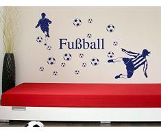 Graz Design 770078_100x57_063 Wandtattoo Set Kinderzimmer Fußball Bälle mit Fußballspieler Jungs 100x57cm Lindgrün