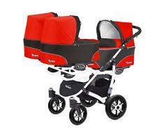 Kinderwagen für Drillinge 3 Gondeln 3 Sportsitze Trippy Kinderwagen 2in1 weißer Rahmen (schwarz rot 03)