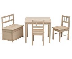 Impag Kindersitzgruppe aus europäischem Buche-Hartholz 1 x Tisch, 2 x Stühle, 1 Truhenbank mit Deckelbremse, 4 Varianten wählbar Eva