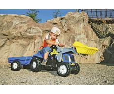 Rolly Toys 023929 - rollyKid New Holland T 7040 Trettraktor mit Anhänger (für Kinder von 2,5 bis 5 Jahren, Heckkupplung)