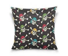 tyui7 Cartoon-bunter Piraten-Zuckerschädel Pillowcase Schlafsofa Kissenbezug 45 x 45 cm