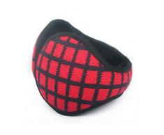 GHYSTORM Verstellbar Ohrenschützer Herren- und Damen-Ohrenschützer, winterwarme Ohrenschützer, warme Reitgehörlose aus Strick, Plüschohrringe, Rückentragen-Rotes C