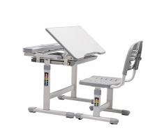 mecor Kinderschreibtisch mit Stuhl und Schublade, Höhenverstellbar Schülerschreibtisch Jugendschreibtisch für Kinder Schüler, Multifunktionale Schreibtisch Set, Arbeitsplatz mit Lagerung, Grau