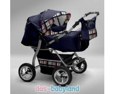 Akjax Gemini Zwillingskinderwagen - Geschwisterwagen - Zwillingsbuggy Farbe Nr.29 dunkelblau / karo