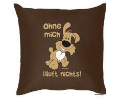 Tierisches Sofakissen - Cooles Geschenk Hundebesitzer : Ohne mich läuft nichts! Hund / Kissen mit Füllung - Farbe: braun