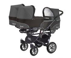 Trippy Drillingswagen Geschwisterwagen Kombi Kinderwagen 2in1 Baby Wanne und Sportwagen schwarz