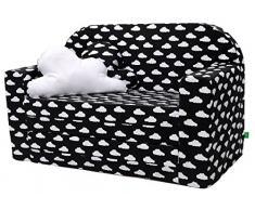 LULANDO Classic Kindersofa Kindercouch Kindersessel Sofa Bettfunktion Kindermöbel zum Schlafen und Spielen, Farbe: Wölkchen Schwarz