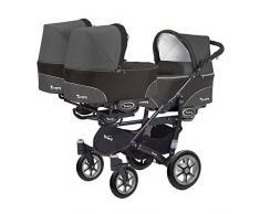 Kinderwagen für Drillinge 3 Gondeln 3 Sportsitze Trippy Kinderwagen 2in1 schwarzer Rahmen (schwarz graphit 04)