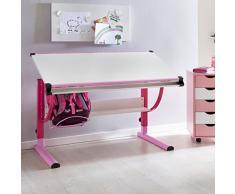 Eternity-Möbel Kinderschreibtisch Schreibtisch - Simon - Schülerschreibtisch höhenverstellbar (Rosa-Weiß)