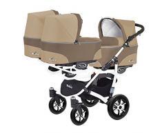 Kinderwagen für Drillinge 3 Gondeln 3 Sportsitze Trippy Kinderwagen 2in1 weißer Rahmen (braun beige 02)