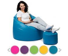 sunnypillow Premium XL Sitzsack mit Hocker Outdoor & Indoor mit 160L Styropor Füllung Sessel für Kinder & Erwachsene Sitzkissen Sofa Beanbag viele Farben zur Auswahl Blau