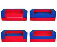 Kindersofa Puzzle Matratze Spieltisch mit Bettfunktion 4in1 * Sofa Spielsofa (Rot + Dunkelblau) Kindermöbel Kindersofa Schaumstoff Kindercouch Ausklappbar Spilsofa für Kinder Sofa Kindercouch