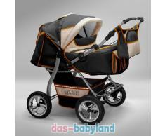 Akjax Gemini Zwillingskinderwagen - Geschwisterwagen - Zwillingsbuggy - Nr.35 graphit / beige / orange