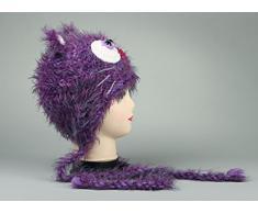 Gestrickte Mütze Violette Kuschelkatze