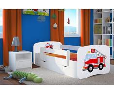Kocot Kids Kinderbett Jugendbett 70x140 80x160 80x180 Weiß mit Rausfallschutz Matratze Schublade und Lattenrost Kinderbetten für Mädchen und Junge - Feuerwehr 140 cm