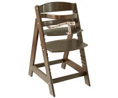roba Treppenhochstuhl Sit Up III, mitwachsender Hochstuhl vom Babyhochstuhl bis zum Jugendstuhl, Holz, braun gebeizt