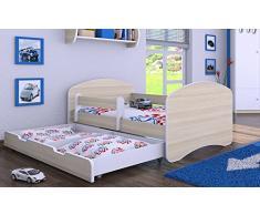 HB Kinderbett mit Matratze und Bettkasten - NEU Akazie (180x90)
