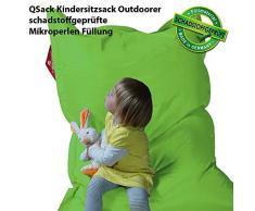 QSack Outdoorer Kindersitzsack, mit Innenhülle und Toxproof Mikroperlen, schadstoffgeprüft, 100x140 cm (apfelgrün)