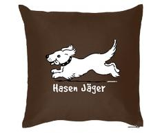 Tierisches Sofakissen - Cooles Geschenk Hundebesitzer : Hasen Jäger / Kissen mit Füllung - Farbe: braun
