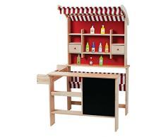 Kaufladen aus Holz Inklusive Kaufladenzubehör, Supermarkt aus Holz, Verkaufsstand mit Verkaufsregal, Frontablage und Tafel und Zubehör, Marktstand