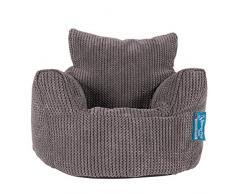 Lounge Pug®, Kindersessel Sitzsack, Sitzsack Kinder, Pom-Pom Anthrazit
