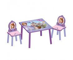 Delta Childrens Products Disney Kindersitzgruppe Sofia Tisch + 2 Stühle Holz Sitzgruppe Maltisch Spieltisch Kindermöbel Möbel