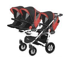 Kinderwagen für Drillinge Säugling und ältere Zwillinge 1 Gondel 3 Sportsitze Trippy Kinderwagen 2in1 weißer Rahmen (schwarz rot 03)