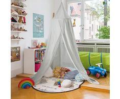 infactory Baldachin: Kinder-Betthimmel mit Insektenschutz, grau, zusammenfaltbar (Himmelbett)