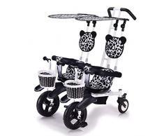 CHEERALL Kinder-Doppel-Dreirad Leichtes 2-Sitzer-Fahrrad-Doppel-Kinderwagen mit abnehmbarem Baldachin , Sicher und Komfort für Kinder von 6 Monaten bis 4 Jahren