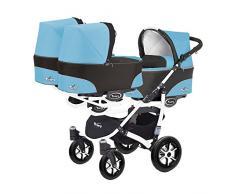 Kinderwagen für Drillinge 3 Gondeln 3 Sportsitze Trippy Kinderwagen 2in1 weißer Rahmen (blau 01)