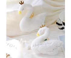 Romote Schwan-Prinzessin Plüsch Stofftier mit funkelndem Crown Schlüsselanhänger Handtasche Auto-Dekoration Schlüsselanhängern netten Plüsch-Puppe Keychain Metall Keychain (Short Fluff)