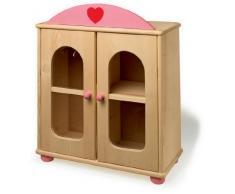 Small Foot by Legler Puppenschrank aus Massivholz, mit rosafarbenem Aufsatz und Herzlogo, großer Innenraum inkl. Kleiderbügel, ein Must-Have für kleine Puppenmuttis ab 3 Jahren
