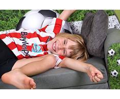 FORTISLINE Kindersofa Kindercouch Aufklappen Bettfunktion + Hocker W319 Viele Muster (Football)