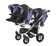 Kinderwagen für Drillinge Säugling und ältere Zwillinge 1 Gondel 3 Sportsitze Trippy Kinderwagen 2in1 weißer Rahmen (schwarz lila 05)