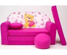 Pro Cosmo H3 Kinder Sofa Bett mit Puff/Fußbank/Kissen, Stoff, Mehrfarbig, 168 x 98 x 60 cm