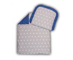 AmilianR Kinderwagenset Baby Bettwasche Garnitur Fur Kinderwagen Kissen Decke Fullung Sternchen Grau Punktchen Dunkelblau