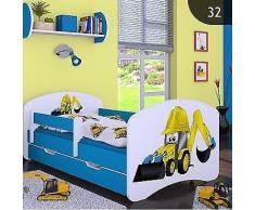 HB Kinderbett Bagger mit Matratze und Bettkasten / verschiedene Variante (Blau, 80 x 160 cm)