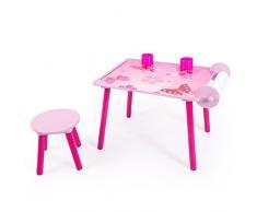 Homestyle4u 1125 Kindersitzgruppe Schmetterling Kinder Mädchen 2-teiliges Set Kinder 1 Tisch/Maltisch 1 Hocker Papierrolle Stiftebox aus Holz