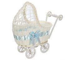 Wicker Baby Girl Carriage Collection, Kinderwagen Weidenkorb Korb Lagerung Mit Griffen Räder (blau) (Farbe : Blau)