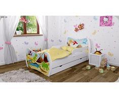 Kinderbett Weiss mit Matratze Bettkasten und Lattenrost - verschiedene Motive DM (Dinosaurier, 160x80)