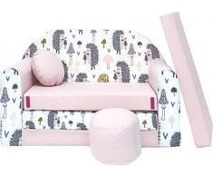 Pro Cosmo Kindersofa Bettfunktion 3in1 Sofa + Gratis Polsterhocker und Kissen Kindermöbel Set - HX1 Rosa 168 x 98 x 59cm