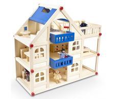 Großes Puppenhaus aus Holz mit Mobiliar und vier Puppen - 3 Etagen
