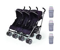 Kinderwagen für Drillinge von Kids Kargo, inklusive Fußsack, ideal für Drillinge ab Geburt