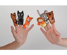 Kleines Finger Kuscheltier für Puppen Theater aus Filz künstlerische Handarbeit