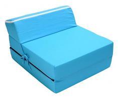 Best For Kids Kindersessel Bettsessel Funktionssessel Jugend Kindermatratze zum schlafen und spielen 3 in 1 (Hellblau)