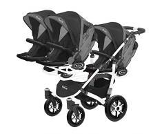 Kinderwagen für Drillinge Säugling und ältere Zwillinge 1 Gondel 3 Sportsitze Trippy Kinderwagen 2in1 weißer Rahmen (schwarz graphit 04)