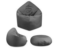 2in1 Sitzsack Bodenkissen Outdoor Sitzsäcke Indoor Beanbag in 32 Farben & 3 Größen wählbar Sitzkissen Kinder Yoga Kissen Erwachsene Schule Kindergarten (Anthrazit-100 cm)