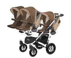 Kinderwagen für Drillinge Säugling und ältere Zwillinge 1 Gondel 3 Sportsitze Trippy Kinderwagen 2in1 weißer Rahmen (braun beige 02)